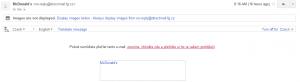 Preheader - ukázka v e-mailu McDonald´s